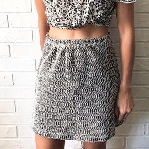 Vintage high waist black and white knit mini skirt